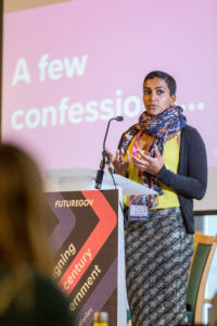 Vimla Appadoo speaking at a FutureGov branded lectern